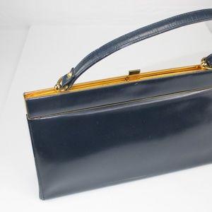 Vintnage Bon Gout Leather Navy handbag/purse